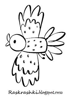 Раскрашка птички для малышей