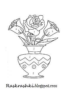 раскрашки розы в вазе
