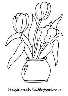 раскрашки для детей тюльпана