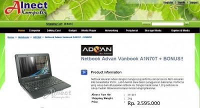 Netbook Advan Vanbook A1N70T - Alnect Komputer