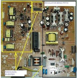 rangkaian power supply regulator lcd benq
