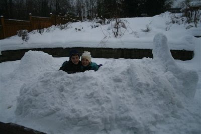 Kids in snow fort