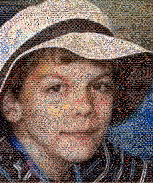 Photo mosaic made up of 10,000 faces