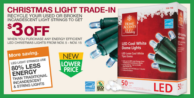 have a green christmas recycle usedbroken christmas lights at the home depot and save 3 off new leds