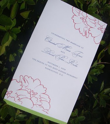 Above the escort cards and here 39s the wedding program