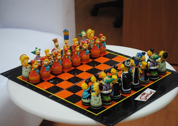My Funny Chess Board With Cartoon Themes The Simpsons