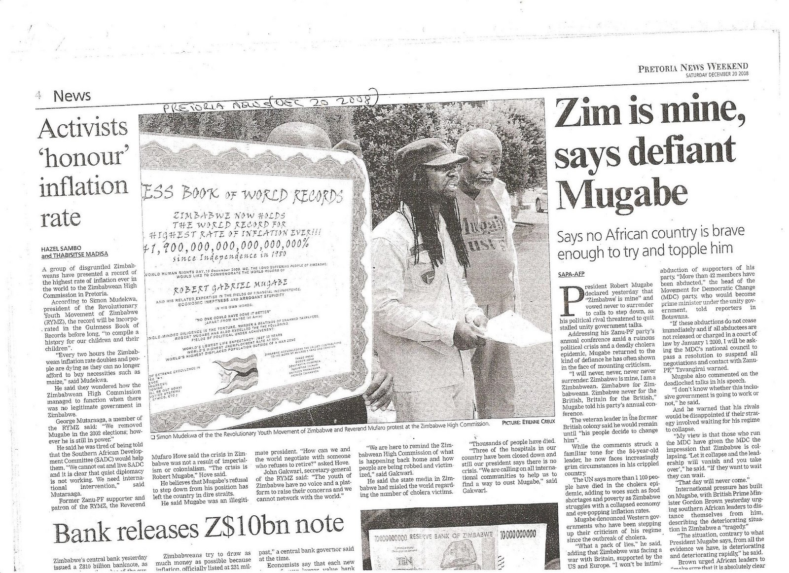 THE PRETORIA NEWS'S REPORT ON HOW MUGABE MANAGED TO ENTER THE GUINNESS BOOK OF RECORDS!