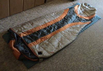 sleeping bag on sleeping pad