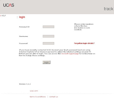 UCAS Track Login at www.ucas.ac.uk/students/track