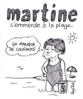 Dessin de Martine Aubry s'emmerde à la plage, par Ray Clid