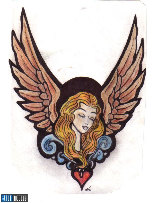 small heart tattoos with wings. heart tattoos with angel wings. Wings Heart Angel Tattoo