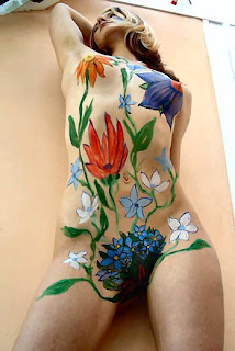 body paint in her sexy body