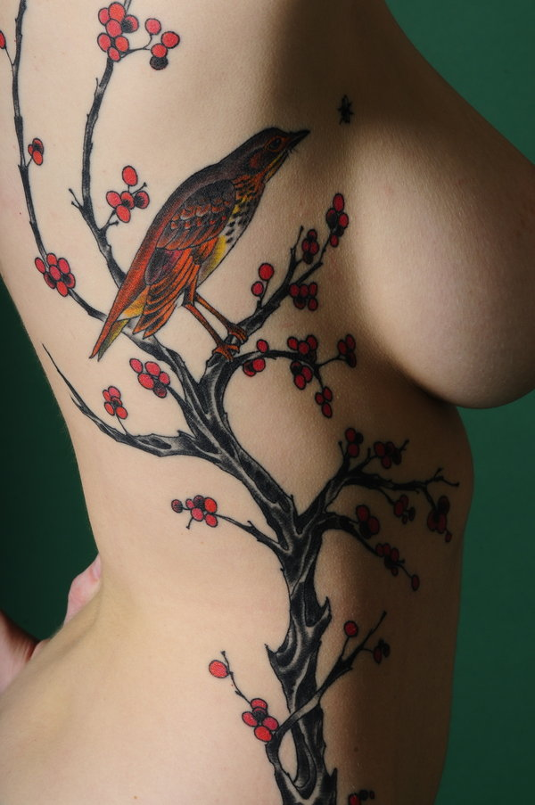 dead tree tattoo. Girl Tattoos On Side With Tree