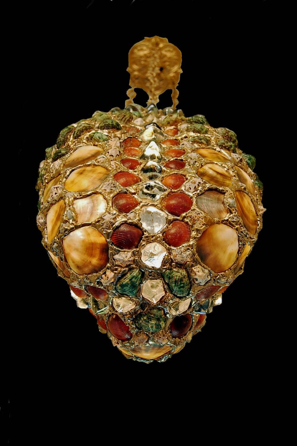 pendant lighting hand painted gold finish seashell