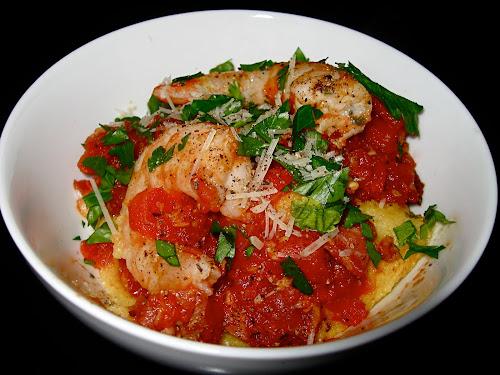 Pancetta Parmesan Polenta and Sauteed Shrimp