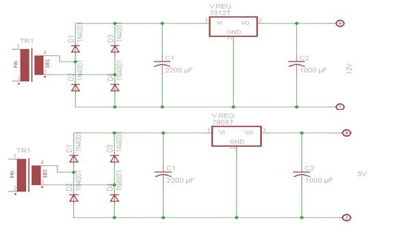 tegangan mikrokontroler atmega 8535 dan 12v untuk men supply tegangan