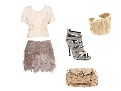 look rosa y gris with feather skirt