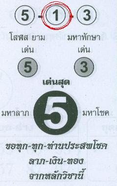 Best Paper for 1st November 2009 Thailand Lottery draw