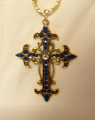 Azure Blue Enameled Ornate Metal Cross Necklace