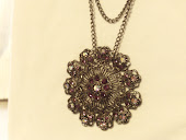 Deep Violet AB Swarovski Gunmetal Medallion Necklace