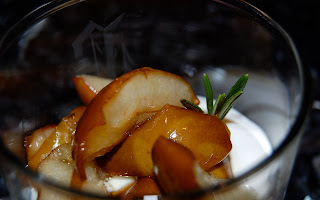 Roasted Pears w/Honey & Rosemary over greek yogurt