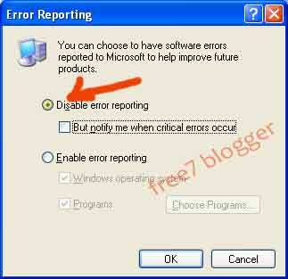 how to disable send error report in win xp