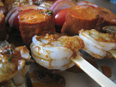 ... Shrimp and Sausage Skewers with Smoky Paprika Glaze and more