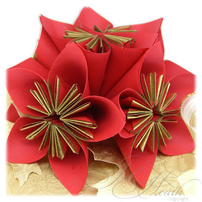 Christmas Paper Flowers for Wrapping