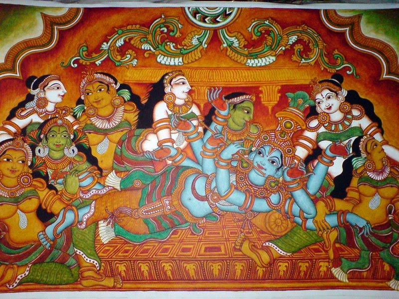 Kerala holidays hotels houseboats ayurveda kerala for Asha mural painting guruvayur