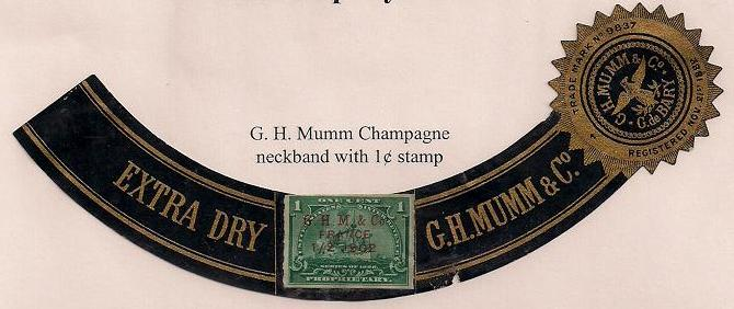 Revenues G H Mumm Printed Cancels Bottle Neck Band - Champagne label template