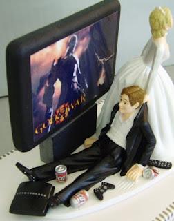 immagine spiritosa decorazione torta nuziale per geek/videogamers
