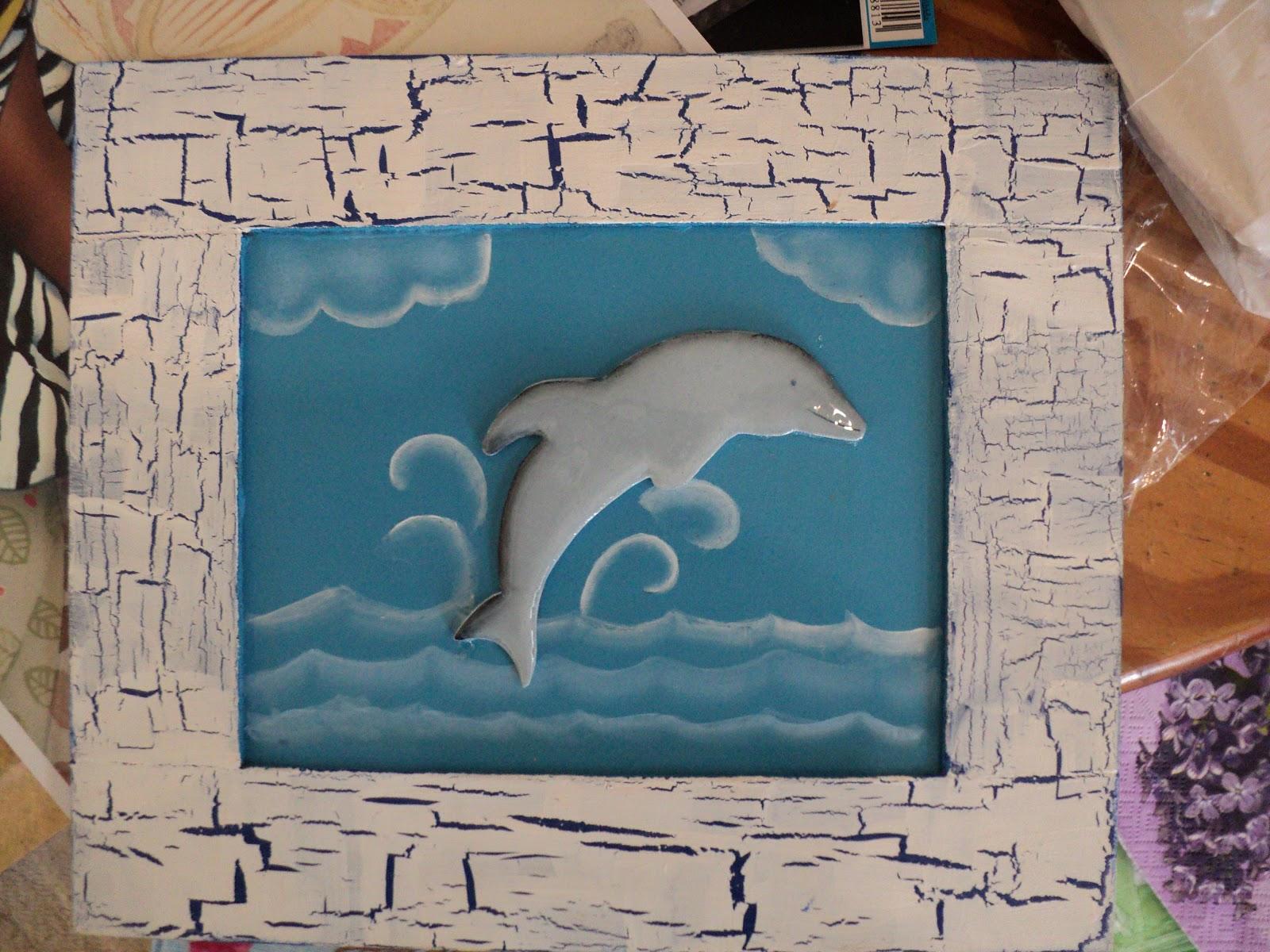 Taller de pintura decorativa cuadro con delfin 3d for Pintura decorativa efeito 3d