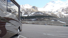 Parked at the Athabasca Glacier in Columbia Ice Fields