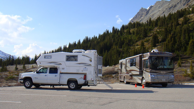 Both of Our RVs Parked at the Athabasca Glacier Parking Lot