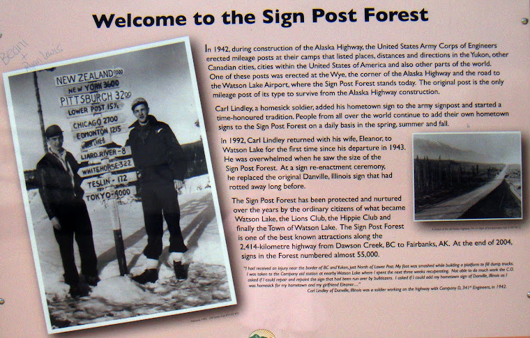 Sign at the Watson Lake Sign Forest Explaining How the Sign Forest Started