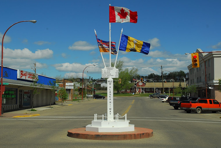 "The Mile ""0"" Sign in the Center of Dawson Creek, BC"