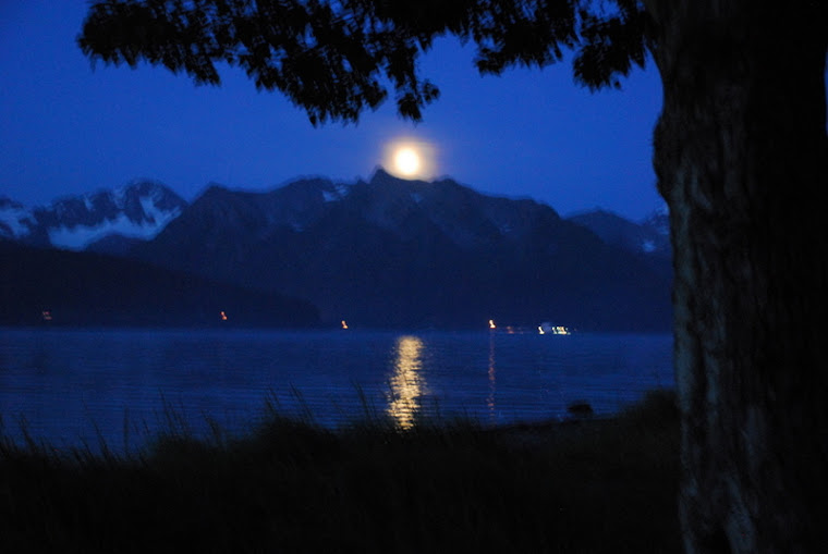 Moon Over Mountains in Seward, Alaska