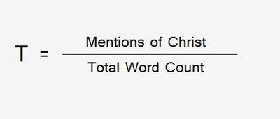 Mentions of Christ over total word count