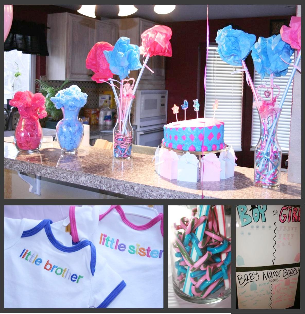 Momma maven pink blue baby party the gender reveal pics for Baby party decoration