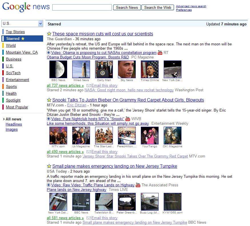 Google News Starred