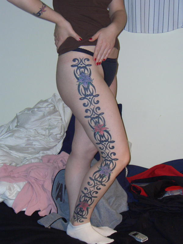 nice leg girl tattoo