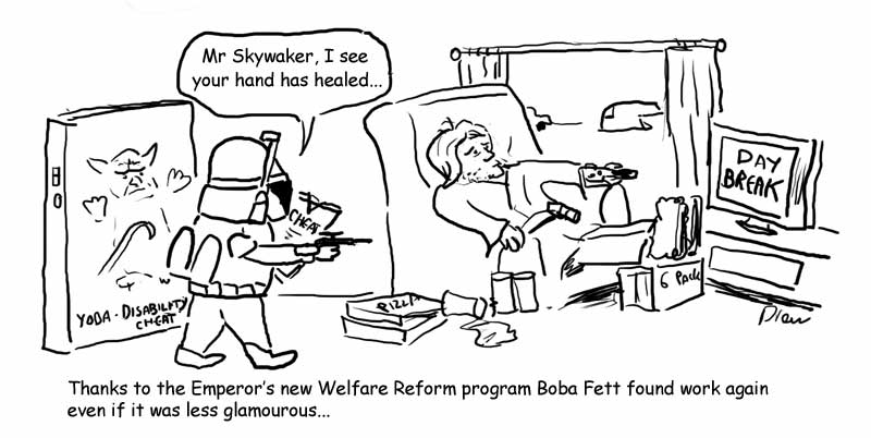 Boba Fett Welfare Bounty Hunter cartoon