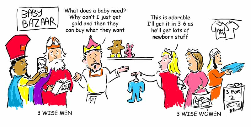 Three wise men vs three wise woman cartoon