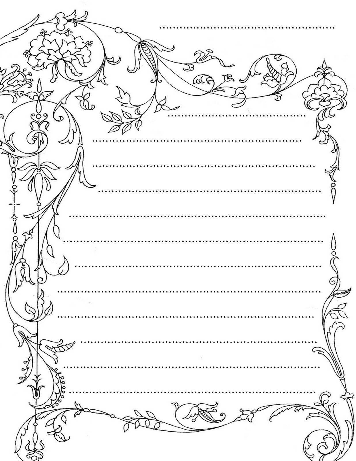 Printable lined stationery black and white