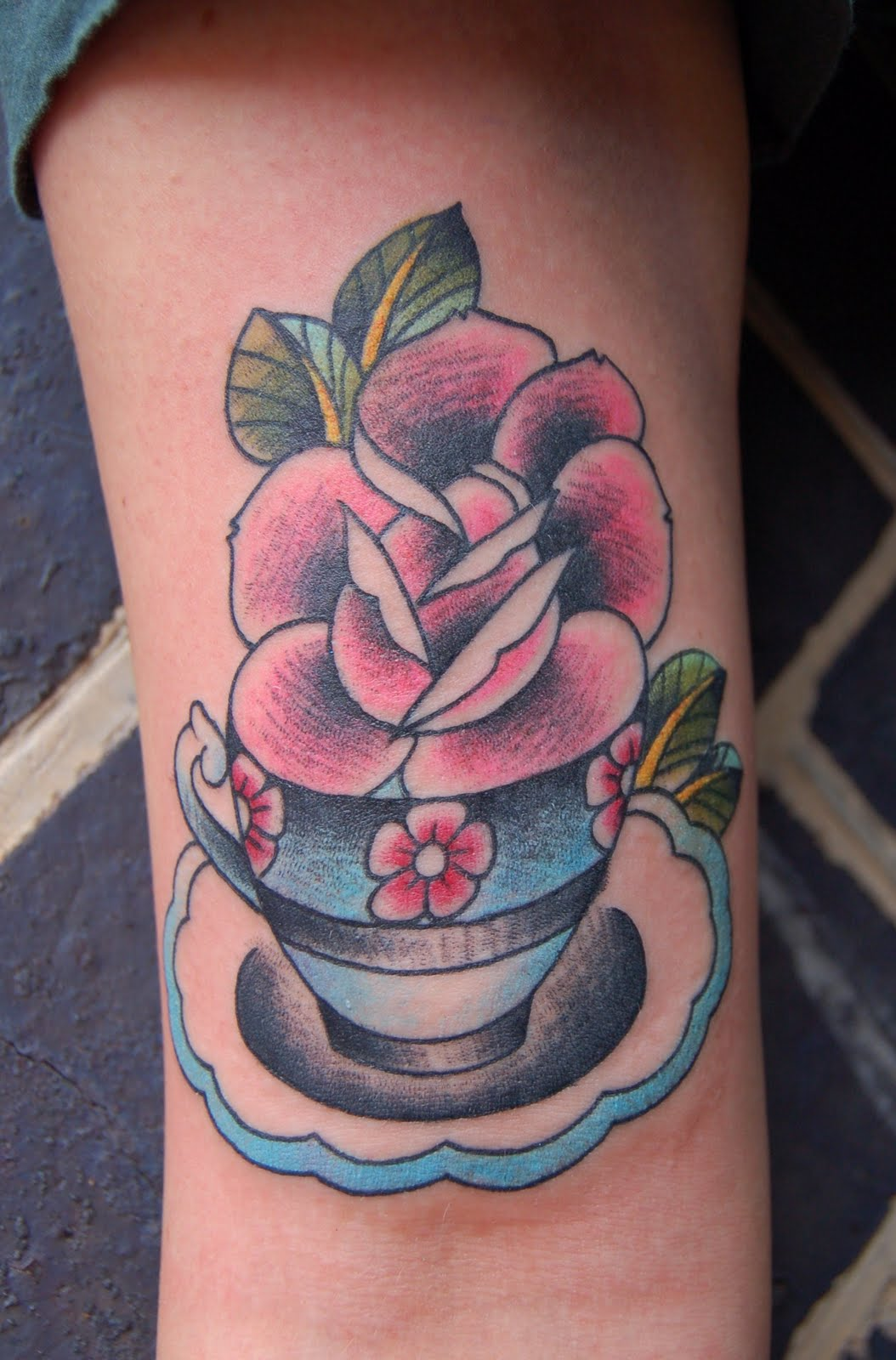 Victorian Teacup Tattoo. Cartoon of a Cute Brunette Caucasian Baker ...
