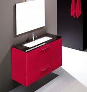 Cocinas y ba os de interiorismo mueble de ba o lacado rojo - Muebles de bano rojos ...