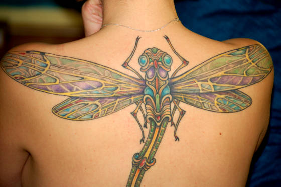 Dragonfly tattoos are symbolic of independence, freedom and beauty.