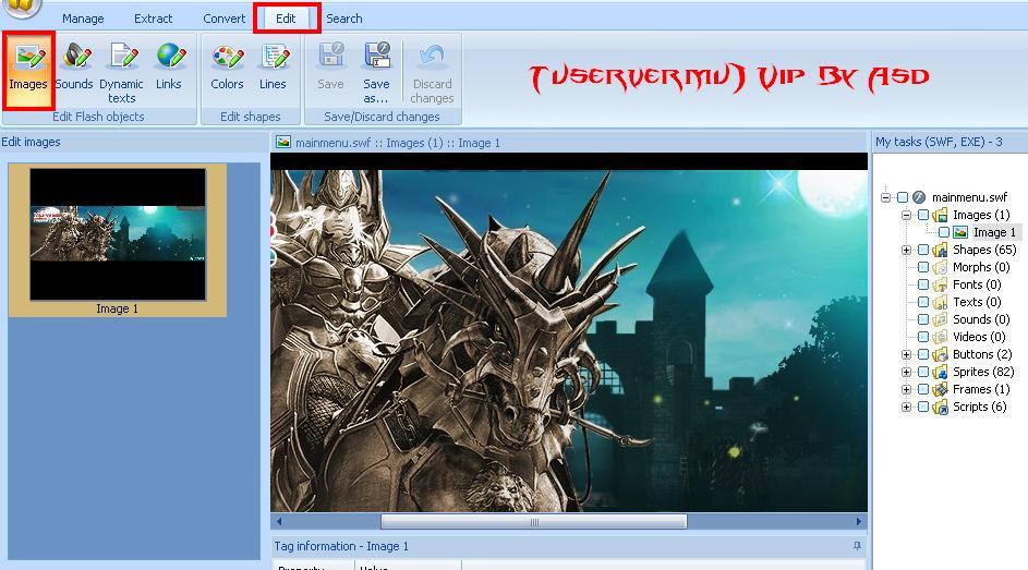 Editando imagen en el decompiler