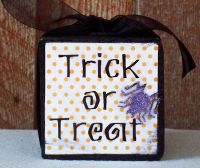 Trick or Treat wood block with paper and vinyl