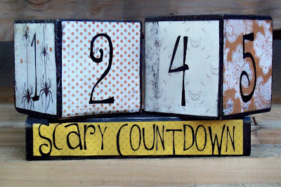 Halloween countdown blocks with paper and vinyl